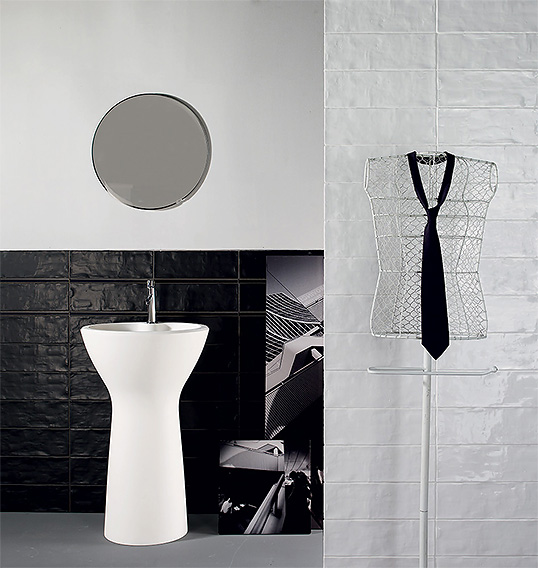 Плитка черно белая для ванной, матовая