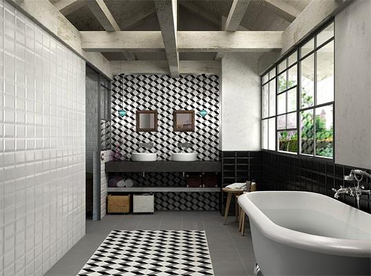 Плитка в черно-белых тонах для ванной