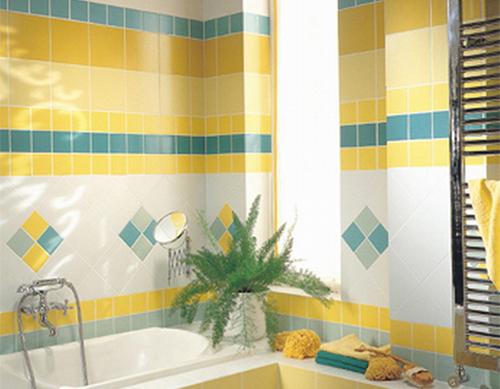 Желтая плитка для ванной моноколор