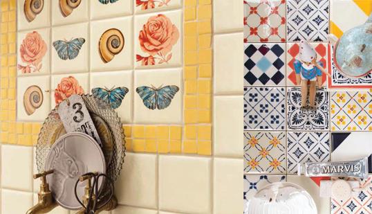 Желтая плитка для ванной, с мозаикой