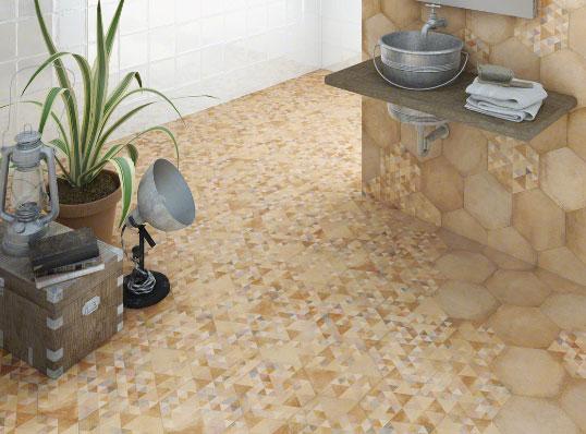 Дизайнерская плитка для пола и стен в виде декорированных шестигранников