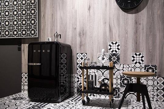 Черно-белый дизайнерский керамогранит пэчворк, новинка 2017