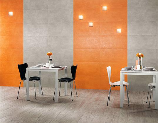 Настенная оранжевая плитка большого размера