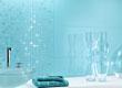 Голубая плитка для ванной комнаты, с мозаикой