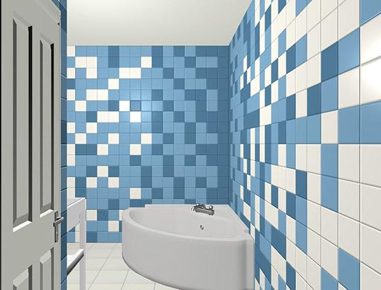 Голубая плитка для ванной, 15х15 см