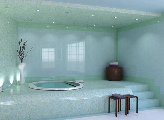Голубая плитка для ванной комнаты, 10х10 см