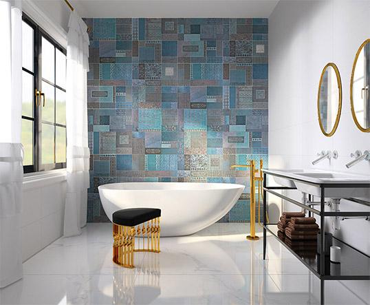 Голубая плитка для ванной с рельефными орнаментами, новинка 2017