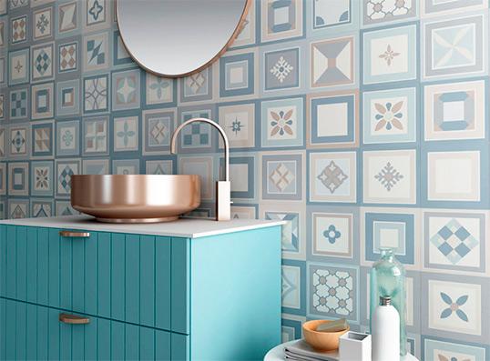 Плитка в стиле пэчворк для ванной комнаты, имитация 15х15 см