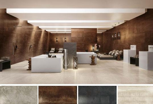 Керамогранит для ванной и кухни с металлизированной поверхностью