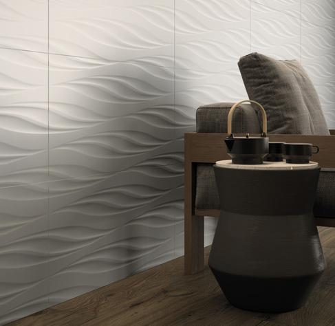 Белая рельефная плитка 3D с рисунком Болд