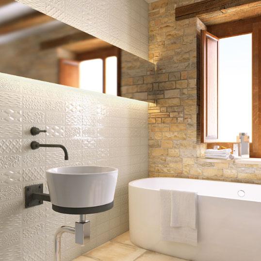 Белая плитка кабанчик с узором, для ванной и кухни