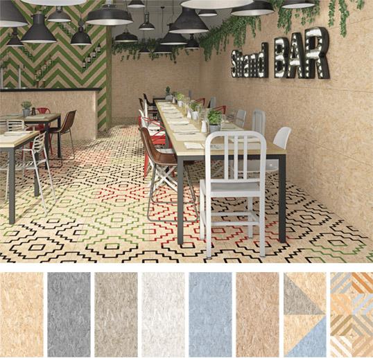 Дизайнерский керамогранит большого размера с имитацией древесностружечной плиты