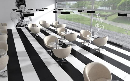 Крупноформатная плитка для пола белого цвета, моноколор