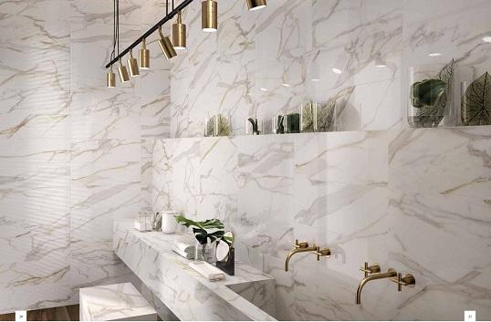 Эко стиль в ванной комнате из керамогранита