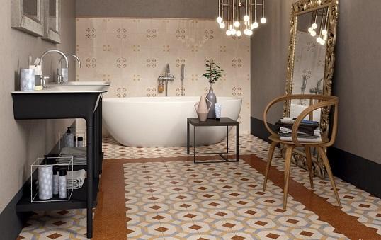 Керамогранит 20х20 в викторианском стиле для ванной
