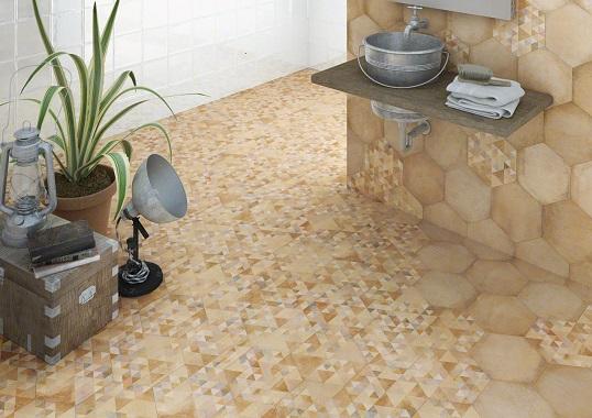 Керамический гранит в уютном деревенском стиле для ванной