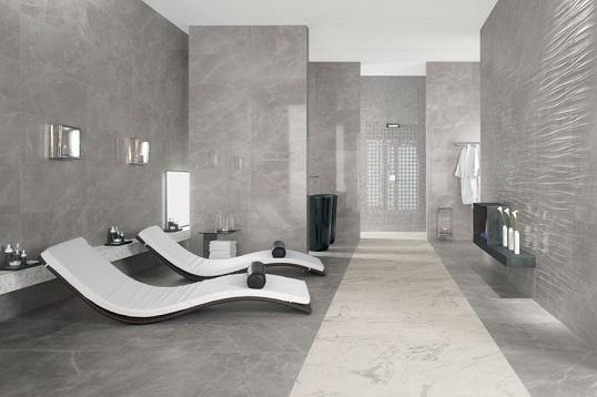 Серый итальянский керамогранит для ванной