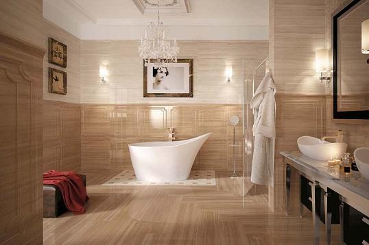 Классический стиль для ванной в плитке под дерево