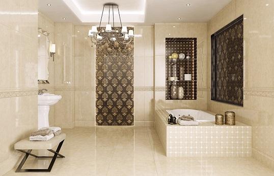 Плитка для классической ванной комнаты с мраморным рисунком