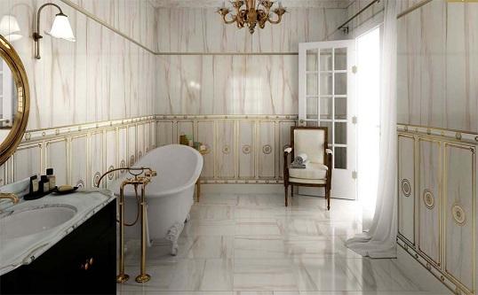 Плитка под мрамор для ванной в классическом стиле
