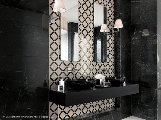 Черно-белый мрамор для классической ванной комнаты