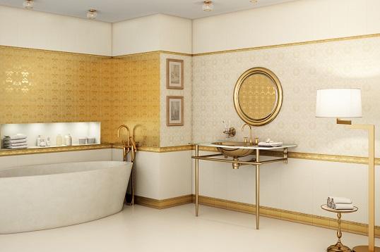 Золотая плитка в классическом стиле для ванной