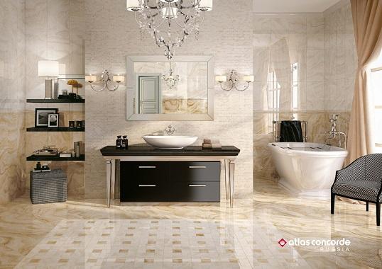 Плитка для ванной в классическом стиле под оникс
