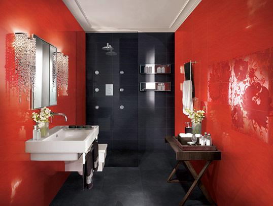 Красно-черная плитка для ванной