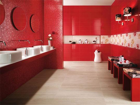 Красная плитка для ванной комнаты, глянцевая