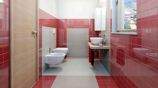 Красная плитка для ванной, 10х10 см