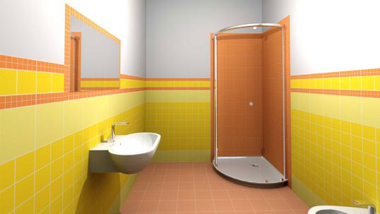 Глянцевая желтая плитка для ванной