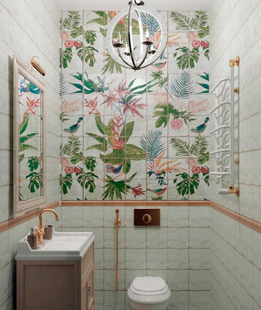 Состаренная плитка с цветами для ванной