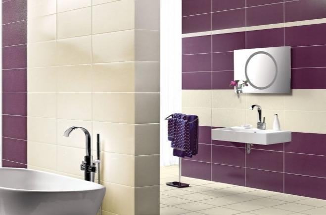 Фиолетовая плитка для ванной комнаты