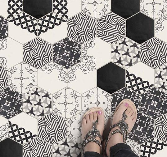 Модная шестиугольная плитка с черно-белым рисунком пэчворк