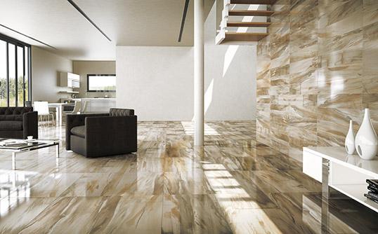 Дизайнерская плитка под мрамор с древесными мотивами