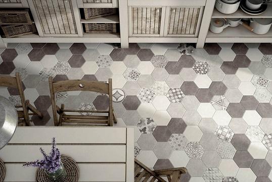 Плитка шестиугольной формы под бетон