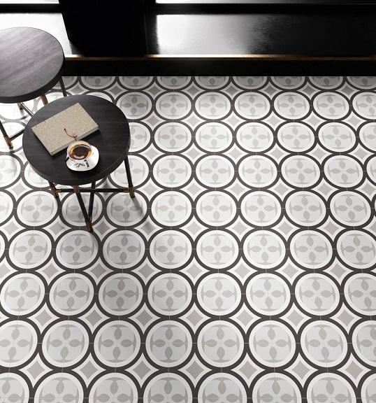 Напольная плитка с черно-белым радиусным орнаментом, Италия