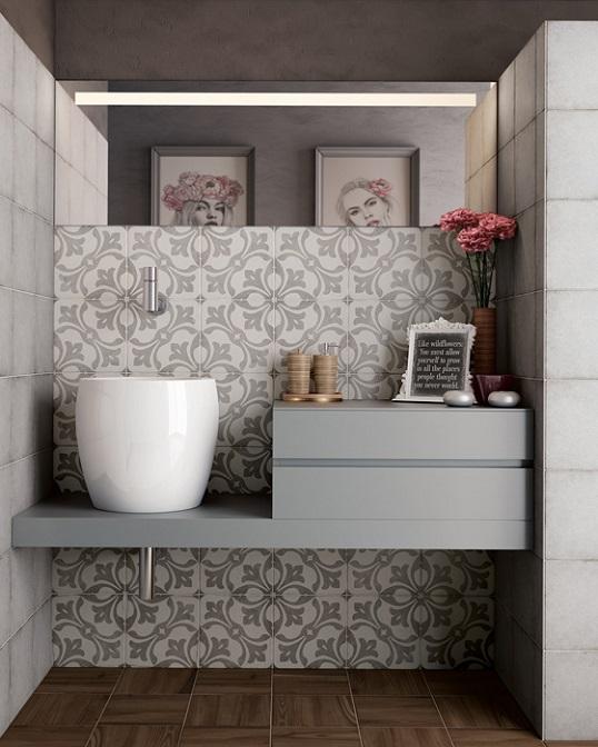 Плитка для пола и стен с бело-серым орнаментом под бетон