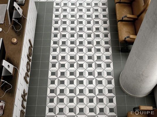 Черно-белая напольная плитка с 3D орнаментом