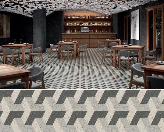 Бесшовная напольная плитка с черно-белым орнаментом, новинка 2017