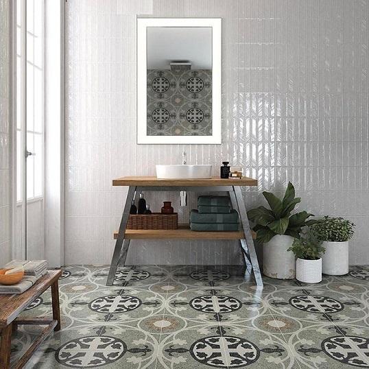 Напольная плитка с орнаментом под мраморную крошку, новинка 2017