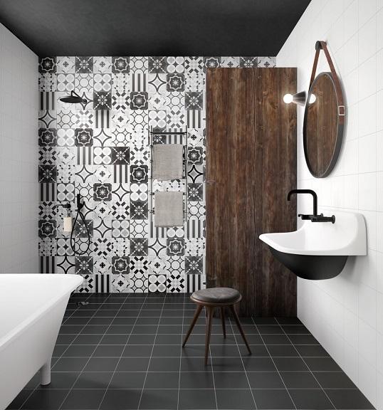 Черно-белая плитка пэчворк для ванной, новинка 2017