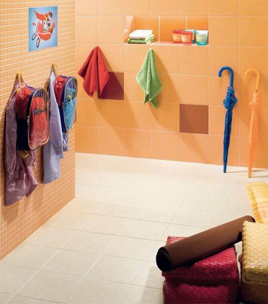 Оранжевая плитка для ванной 20х20 см