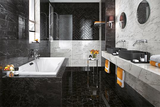 Черно-белая плитка под мрамор для ванной, Италия