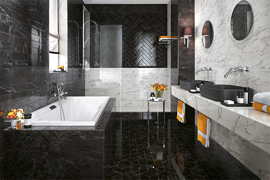Черно-белая плитка под мрамор для ванной, новинка 2016