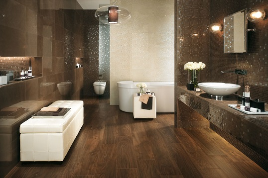 Коричневая плитка под мрамор для ванной комнаты