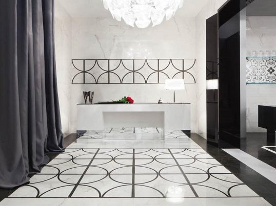 Белизна итальянского мрамора на поверхности напольной плитки, новинка 2015