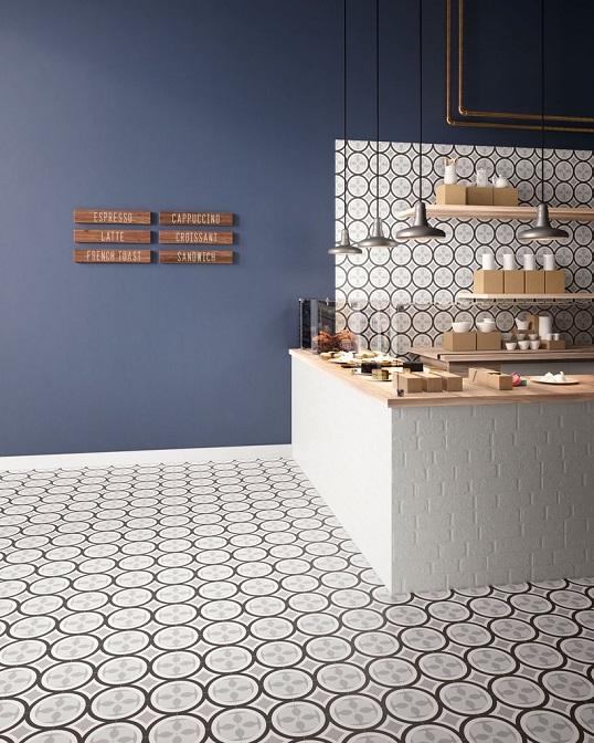 Дизайнерская черно-белая плитка с современным дизайном