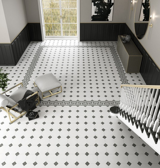 Белая напольная плитка в стиле викторианской классики