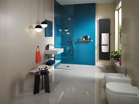 Синяя плитка для ванной с объемными декорами, итальянская новинка 2017